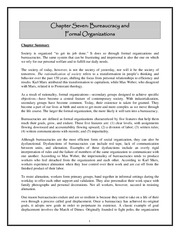 Chapter 07 Beauracracy and Formal Organizations Summary:Outline