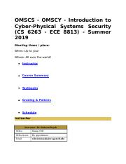OMSCS docx - OMSCS OMSCY Introduction to Cyber-Physical