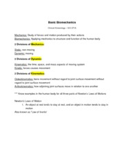 Clinical Kinesiology - Basic Biomechanics notes