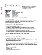 CJ307 Women in Criminal Justice Syllabus Spring 2015
