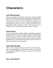 Characters/Synopsis in Owen Meany