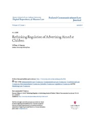 Rethinking Regulation of Advertising Aimed at Children
