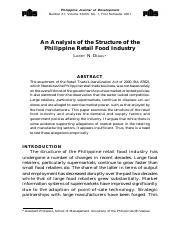 Analysis of the Structure of the Philippine Retail Food Industry