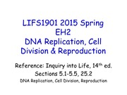 LIFS1901 2015 Spring EH2 DNA Replication Cell Division and Reproduction