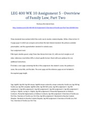 LEG 400 Week 10 Assignment 5 - Overview of Family Law, Part Two - Strayer University NEW