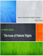 The Issue of Patients' Rights - Ch 20 - Mod