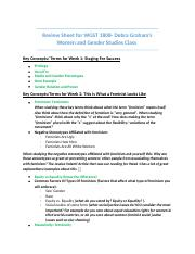 Review Sheet for WGST 1808 (Weeks 1-6)