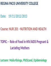 ROLE OF FOOD IN PREGNANCY LESSON 7