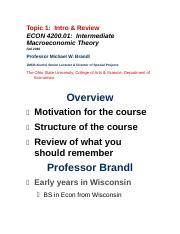 ECON 4002.01 Topic 1 Intro & Review