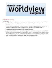worldview assignment Die assignment bethany keller adapted this assignment from stringer and  cassiday (2003, pp 17-19) which requires students to choose a.