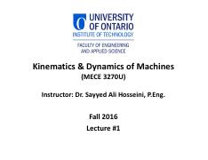 01 Kinematics and Dynamics of Machines Lecture #1