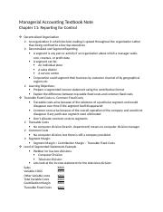 Managerial Accounting Textbook Note Chapter 11