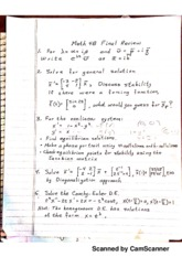 MATH 4B Final Review with Answers