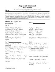 POGIL Types of Chemical Reactions - Name_Date_Period Types ...