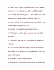 Essay on Five Things about America