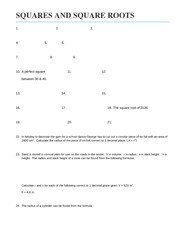 Roots worksheet