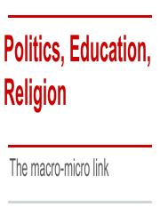 Chapter 10 Politics, Education, Religion