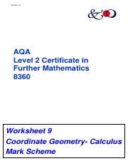 9. Coordinate Geometry Calculus ms.pdf - Version 1.0 AQA Level 2 ...