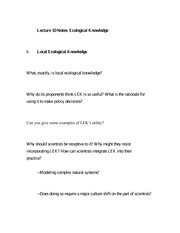 Lecture 10 Notes Ecological Knowledge