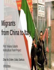 Presentation_Migrants from China to  Italy
