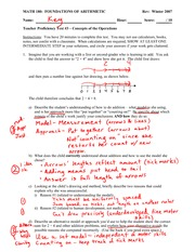 Teacher Proficiency Test 3 Solution on Analyzing a Student's Understanding of Whoel Number Operation