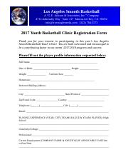 2017 Los Angeles Smooth Basketball Youth Clinic - Registration Form.doc