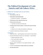 The Political Development of Latin America and Sub-Sahara Africa