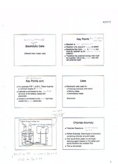 ElectroLyctic Cells notes