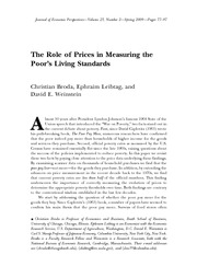 The Role of Prices in Measuring the Poor's Living Standards
