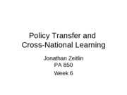 Wk 6 Policy Transfer and Cross-National Learning