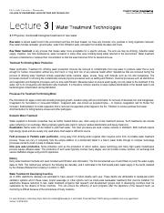 Lecture 3 - Water Treatment