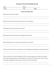 Student Information Sheet Prospectus Form for the Healing Journal and checklist
