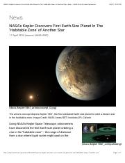 NASA's Kepler Discovers First Earth-Size Planet In The 'Habitable Zone' of Another Star | News - NAS