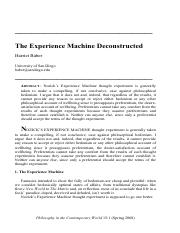 Experience Machine Deconstructed