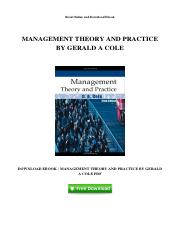 cole management theory and practice 5e ebook