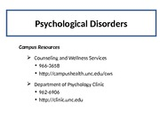 Psychological Disorders Part 1