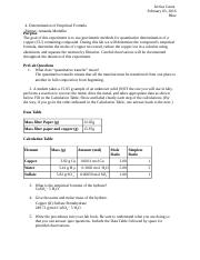 Chem- Determination of Empirical Formula lab report