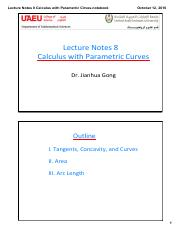 Lecture Notes 8 Calculus with Parametric Cirves(1)