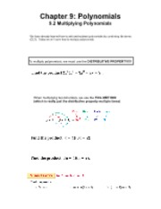 9.2 Multiplying Polynomials