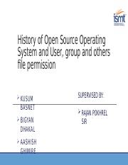 History of Open Source Operating System and User, group and others file permission.pptx