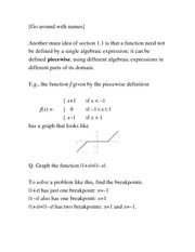 Lecture Notes Piecewise-definitions of functions