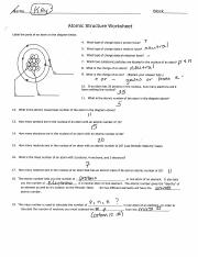 Atomic Structure Worksheet Answers Pdf Fme Block Atomic Structure Worksheet Label The Parts Of An Atom On The Diagram Below 4 What Type Of Charge Course Hero