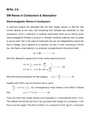 EM waves in Conductors and absorbtion