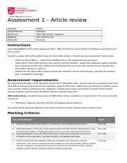 MIS Assessment 1 Article review T2 2020.docx