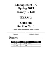 Accounting 1A Exam 2 - Spring 2013 - Section 1 - Solutions