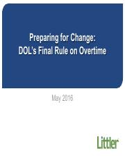 Preparing for Change - DOL's Final Rule on Overtime