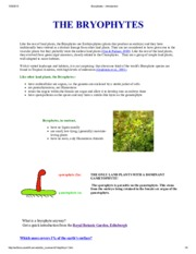 Bryophytes - introduction