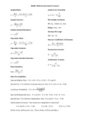 MGMT 2340 Formula Sheet for Exam 1