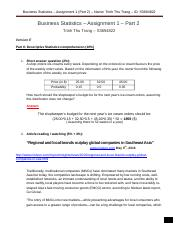 Business Statistics – Assignment 1 – Part 2.docx