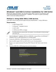 Windows 7 and USB 3.0 driver installation for 100 Series